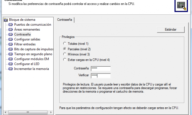 Definir contraseña CPU S7-200 en proyecto MicroWin