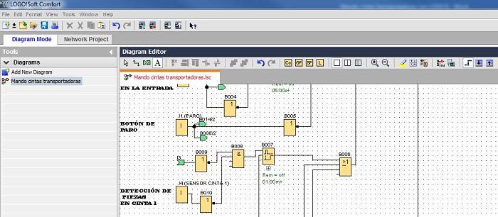 Componentes Software utilizados para el ejemplo de Mando cintas transportadoras en LOGO
