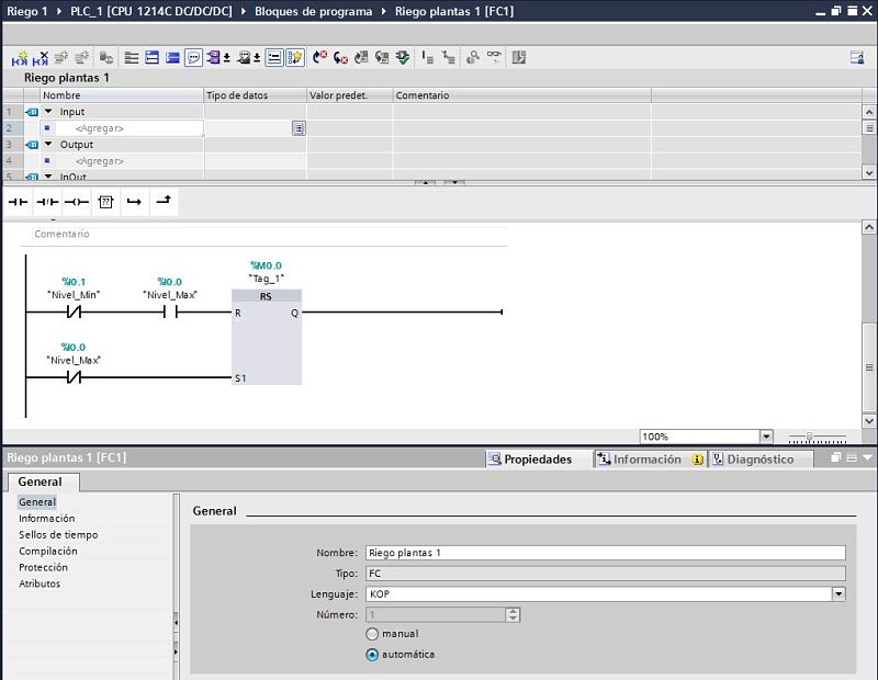 Componentes Software utilizados para el ejemplo de control riego plantas varios tipos en TIA Portal.