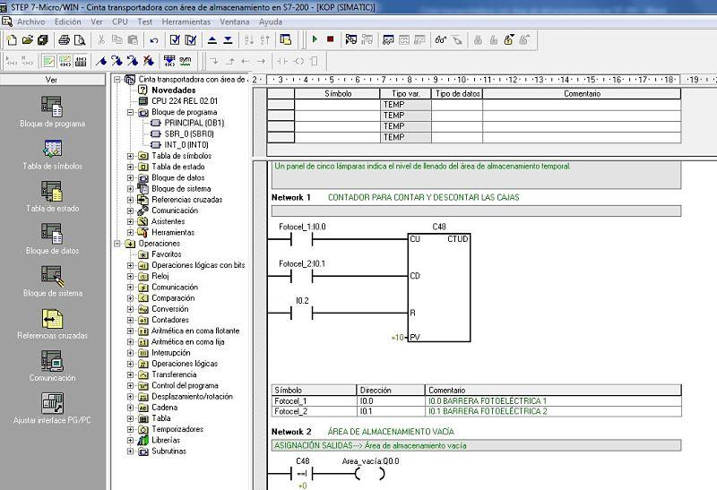 Componentes Software utilizados para el programa de cinta transportadora en S7-200.