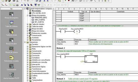 Ejemplo temporizadores comparaciones en MicroWin S7-200