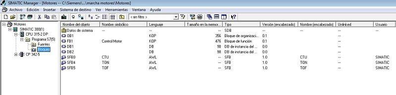 Componentes software utilizados en la marcha paro motores en Step 7.