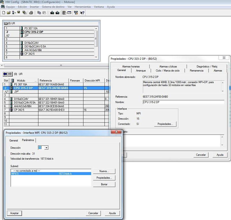 Establecer dirección MPI para la CPU del proyecto.