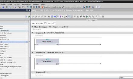 Riego plantas varios tipos programación TIA Portal