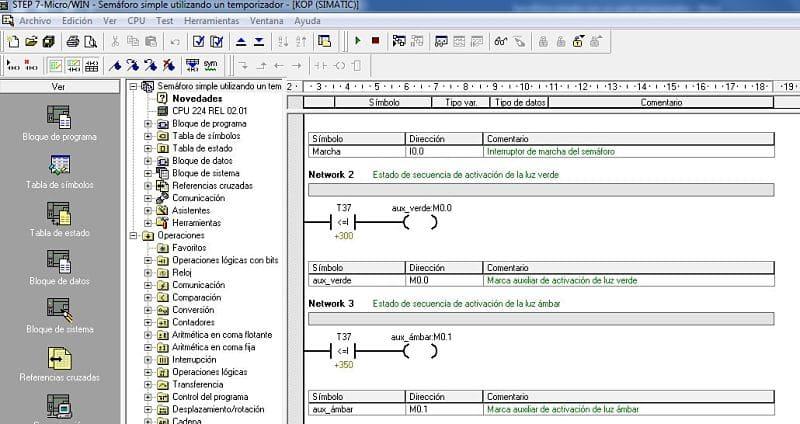 Semáforo simple usando comparaciones en S7-200
