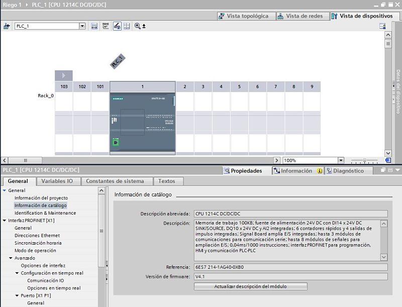 Tipo de cpu TIA Portal utilizada y su firmware.