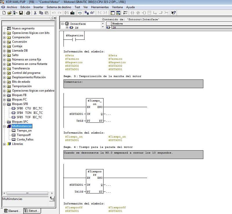 Utilización de multiinstancias en FB para control motores.