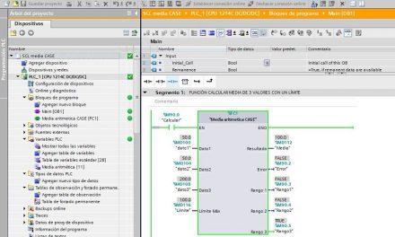 SCL media aritmética CASE con varios rangos de error TIA Portal