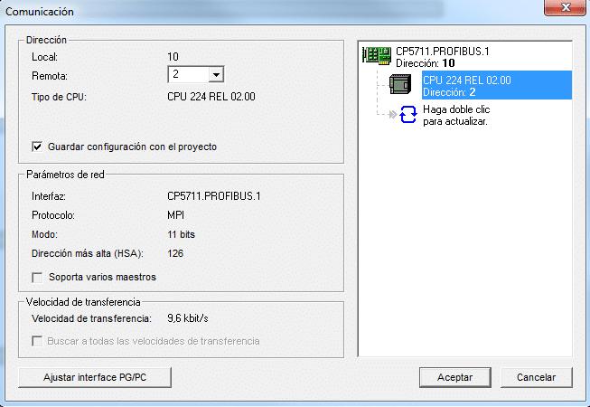 Conexión establecida después de fallo establecer comunicación S7-200.