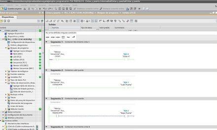 Cintas y puerta intermedia con programación TIA Portal