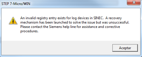 Invalid registry for log ...