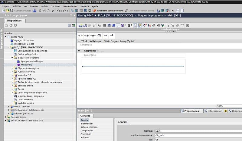 No hay nada programado - el proyecto es solo para configurar CPU TIA Portal.