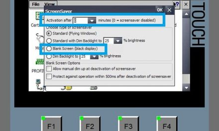 Salvapantallas en HMI para desconexión de la pantalla al tiempo