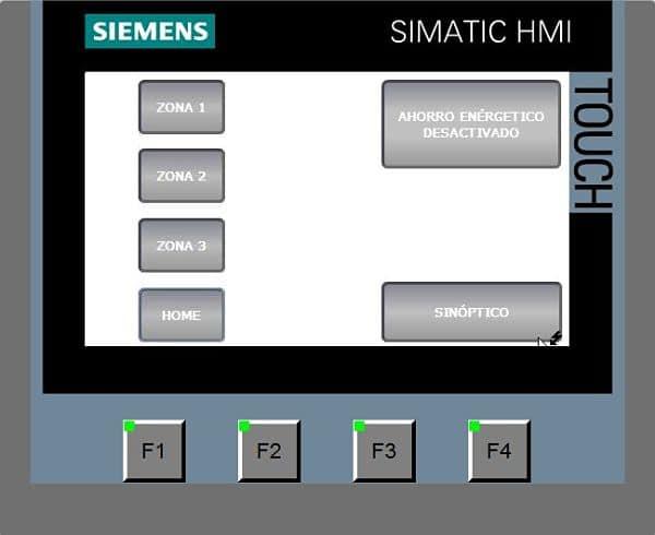 Programa ejecutándose después de arrancar pantalla táctil.