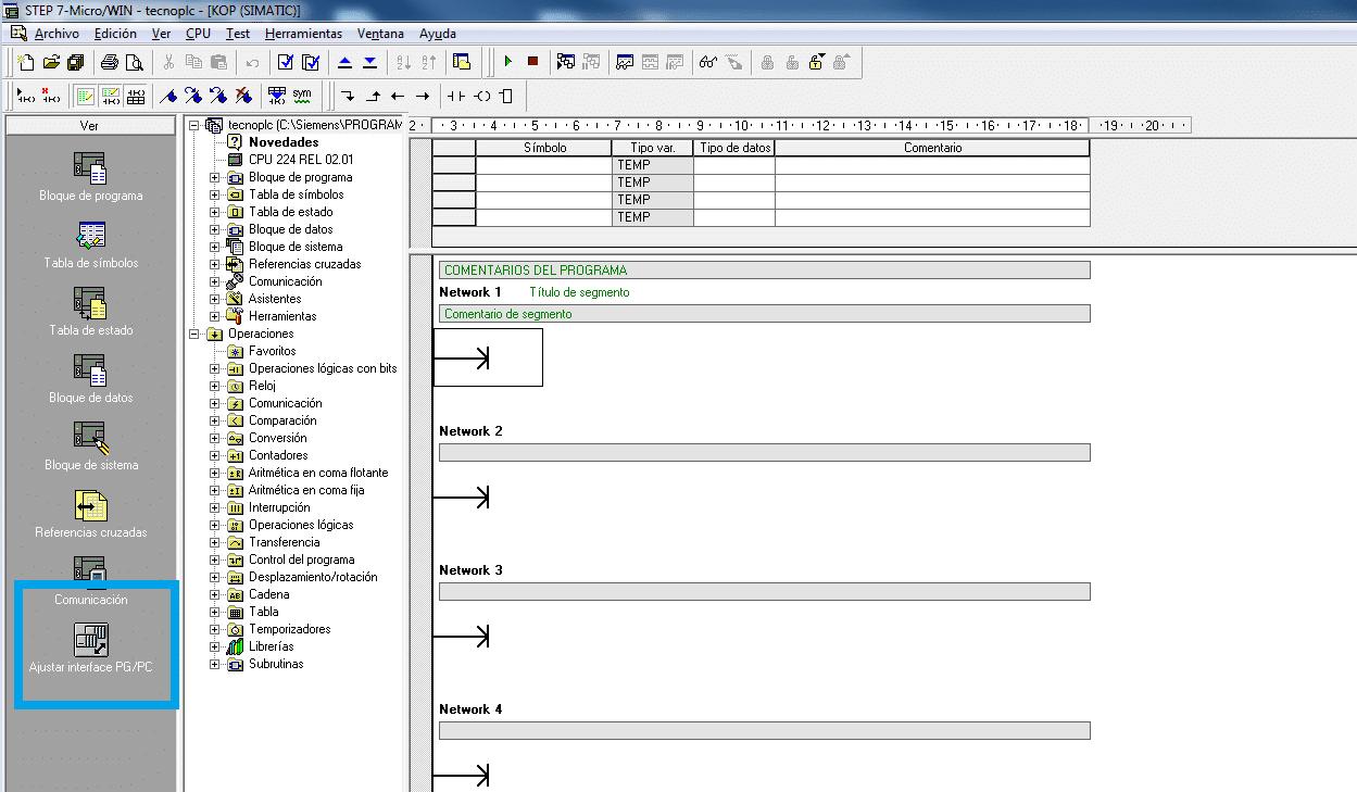 Seleccionar ajuste de PG PC en MicroWin.