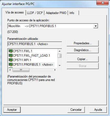 Si hay fallo establecer comunicación S7-200 habrá que seleccionar el interface para comunicar.