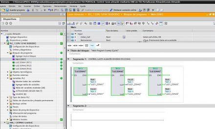 Luces almacén mediante control HMI en TIA Portal