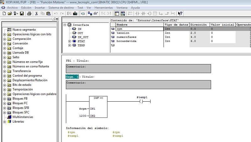 Datos en el interior de la Función FB.