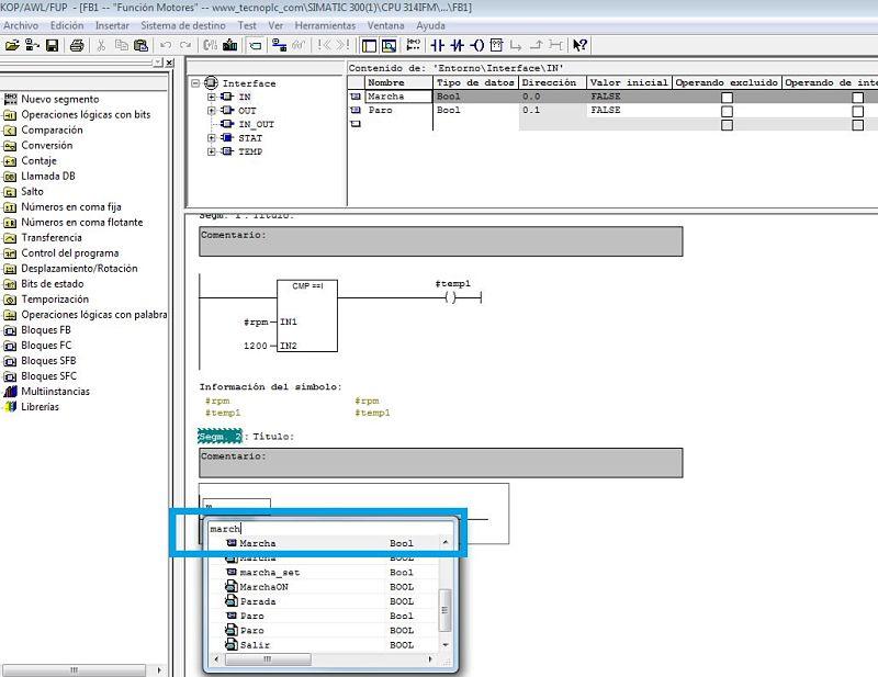 Insertar entradas y salidas usando sus variables locales del FB.