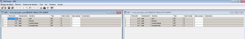 Parámetros iniciales de los dos DB de instancia del FB Step 7.