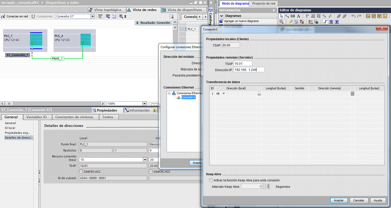 Rellenar datos de la conexión comparando con TIA Portal.