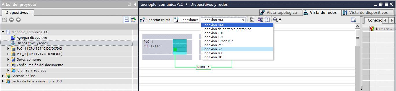 Seleccionar la conexión S7 para comunicación Logo S7-1200.