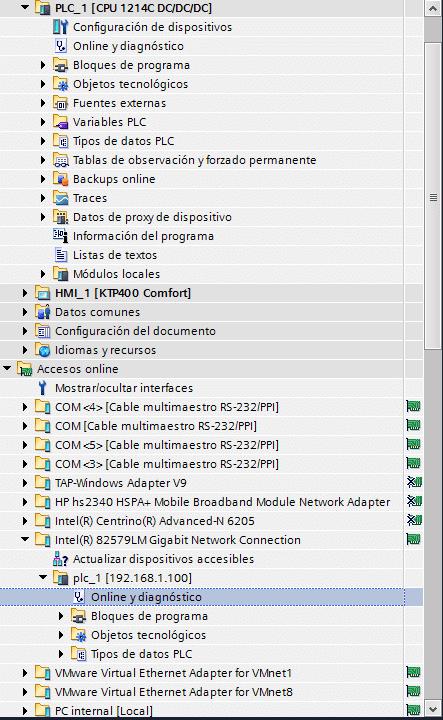 Acceder al diagnóstico ONLINE de la CPU conectada.