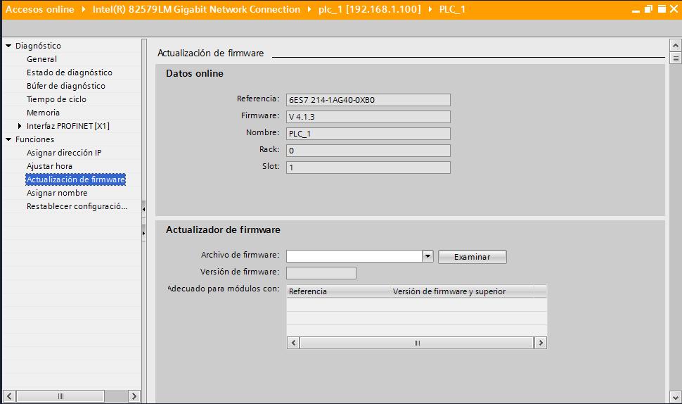 Ver sección de actualizar Firmware V4.0 en PLC S7-1200 en la conexión ONLINE.