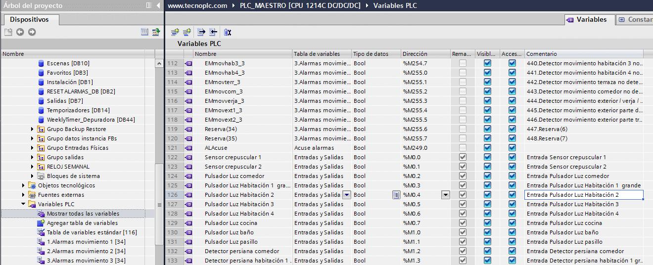 Buscar marcas libres en TIA Portal en la tabla de variables.
