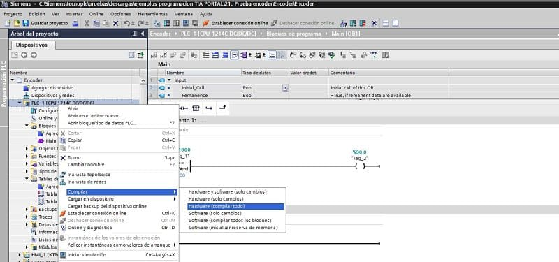 Compilar Hardware del proyecto TIA Portal.