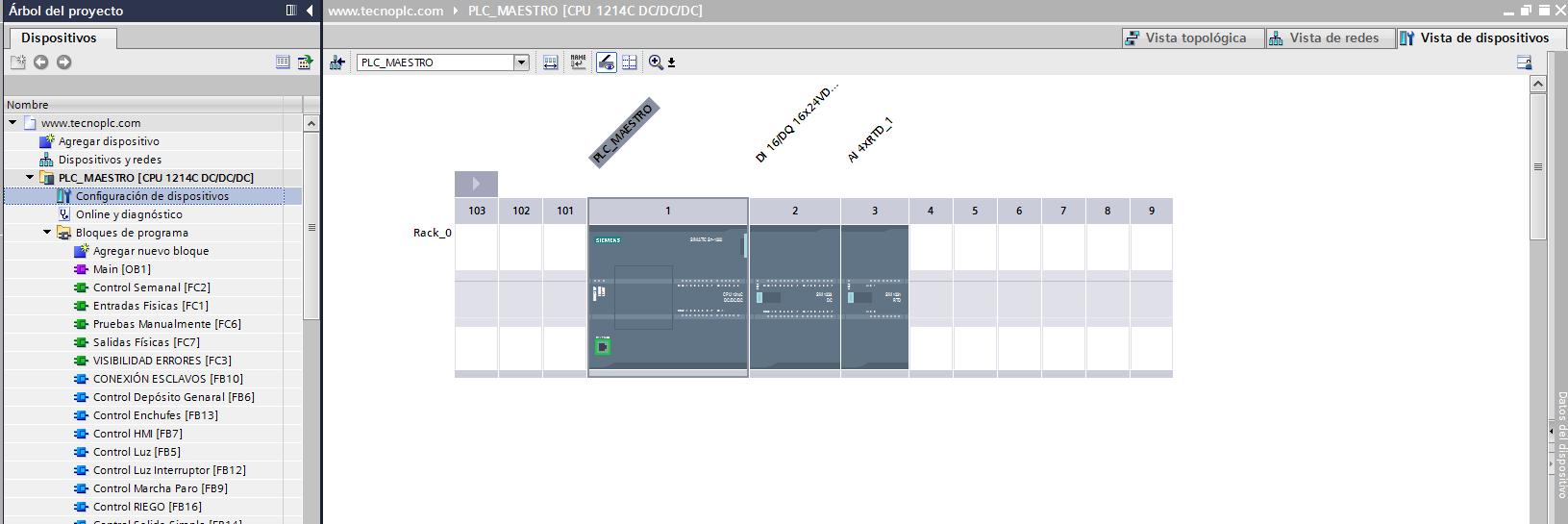 Configuración de dispositivos en proyecto TIA Portal.