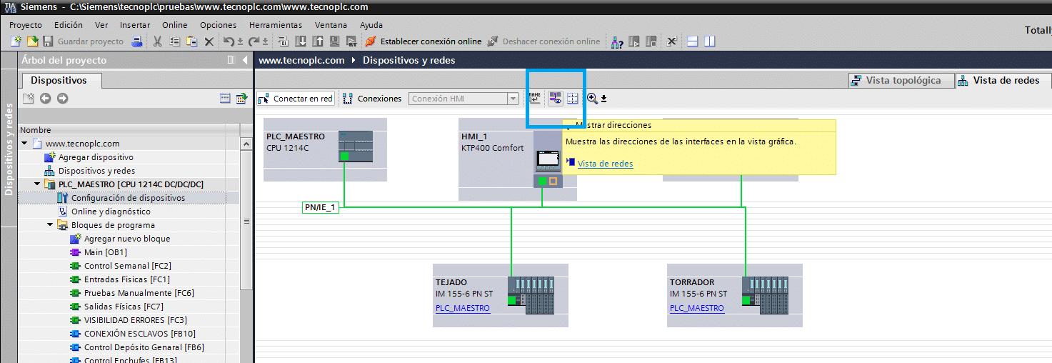 Direcciones IP en proyecto TIA Portal.