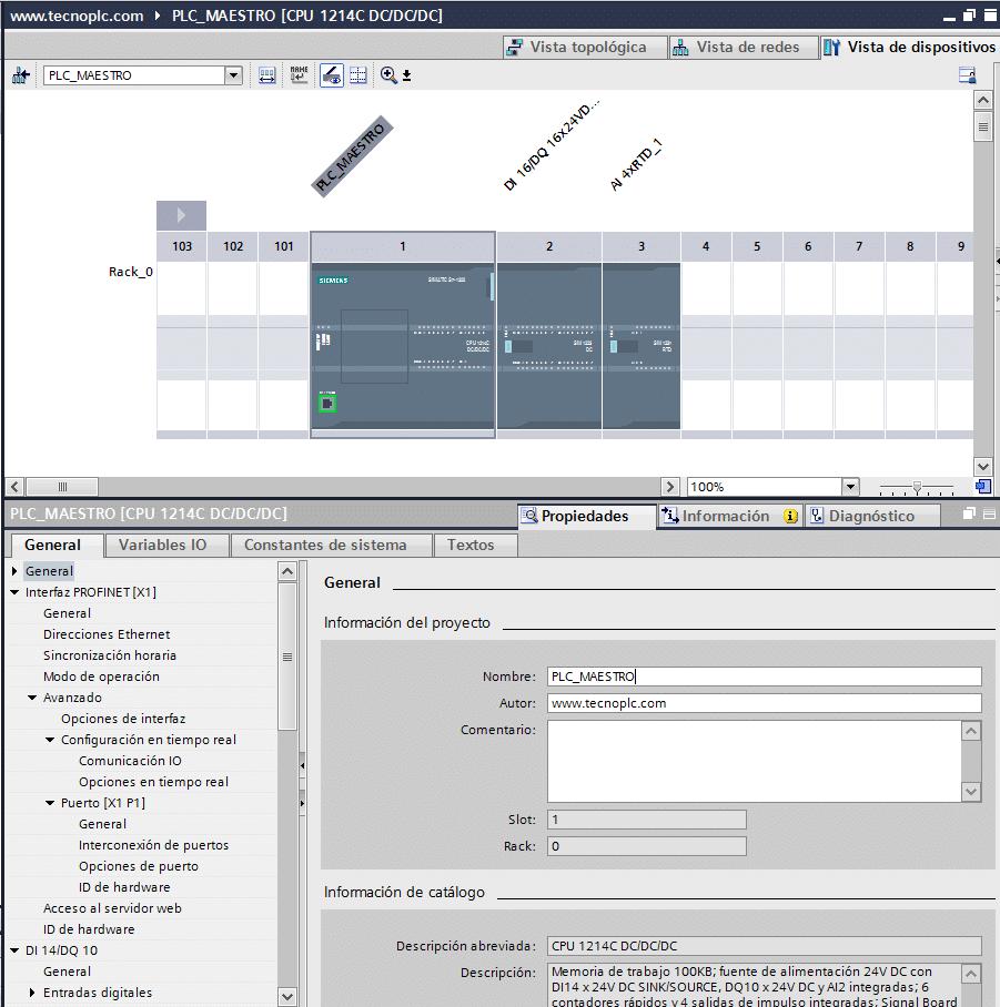 Características del PLC en el proyecto TIA Portal.