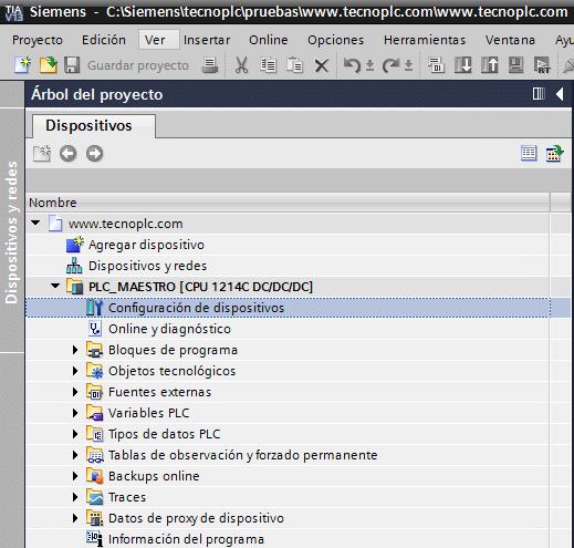 Configuración de dispositivos en TIA Portal.