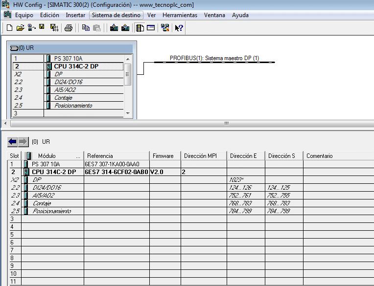 Configuración hardware de nuestra CPU al principio del proyecto.