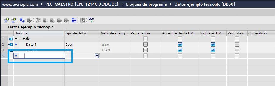 Añadir nuevo dato simplemente introduciendo el nombre y el tipo.
