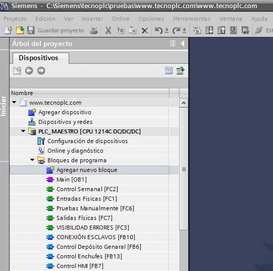 Agregar nuevo bloque al proyecto TIA Portal.