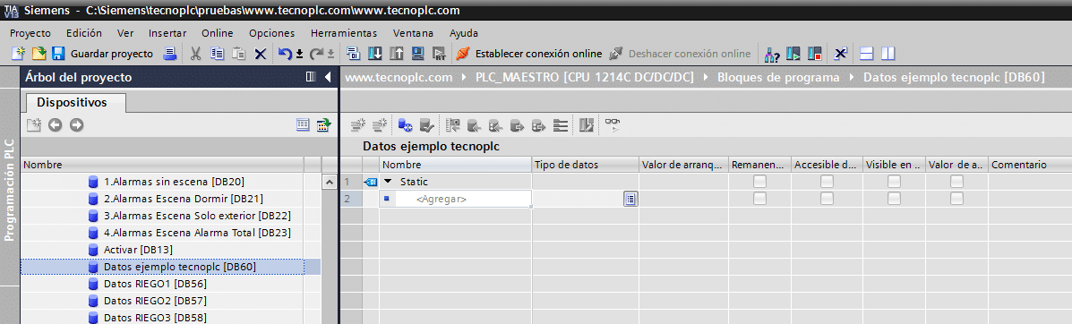 Crear DB en TIA Portal.