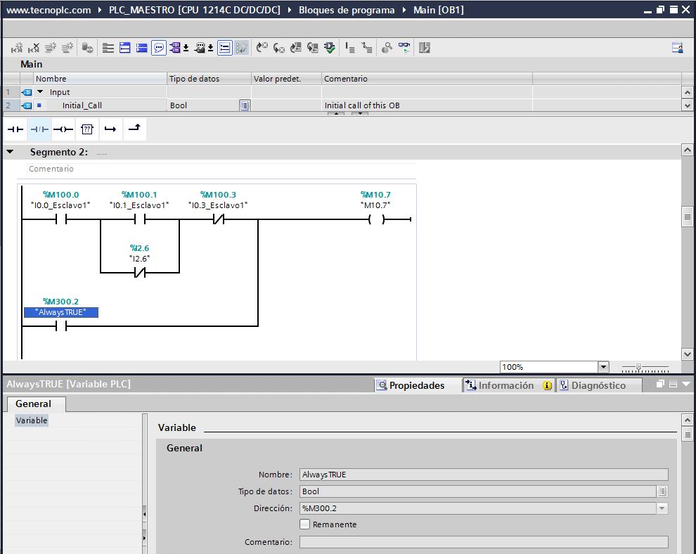 Marca siempre activada en TIA Portal para hacer un puente.