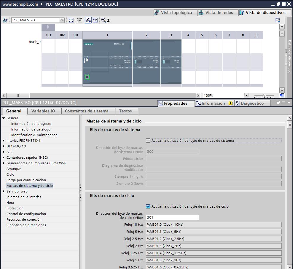 Marcas de sistema y de ciclo en nuestro proyecto TIA Portal.