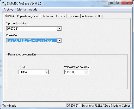 Software Prosave abierto en la pestaña General.