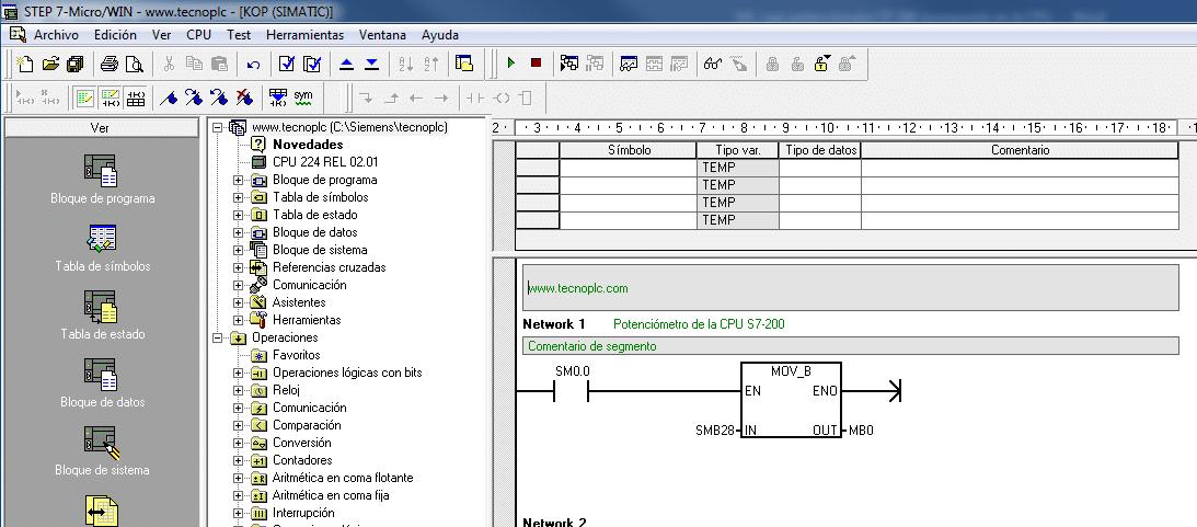 Leer potenciómetro S7-200 en el software MicroWin.