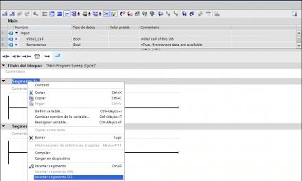 Insertar segmento en SCL en un bloque FC creado en KOP. TIA Portal V15