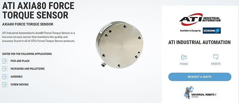 Sensor ATI Axia80 para el UR Robot.