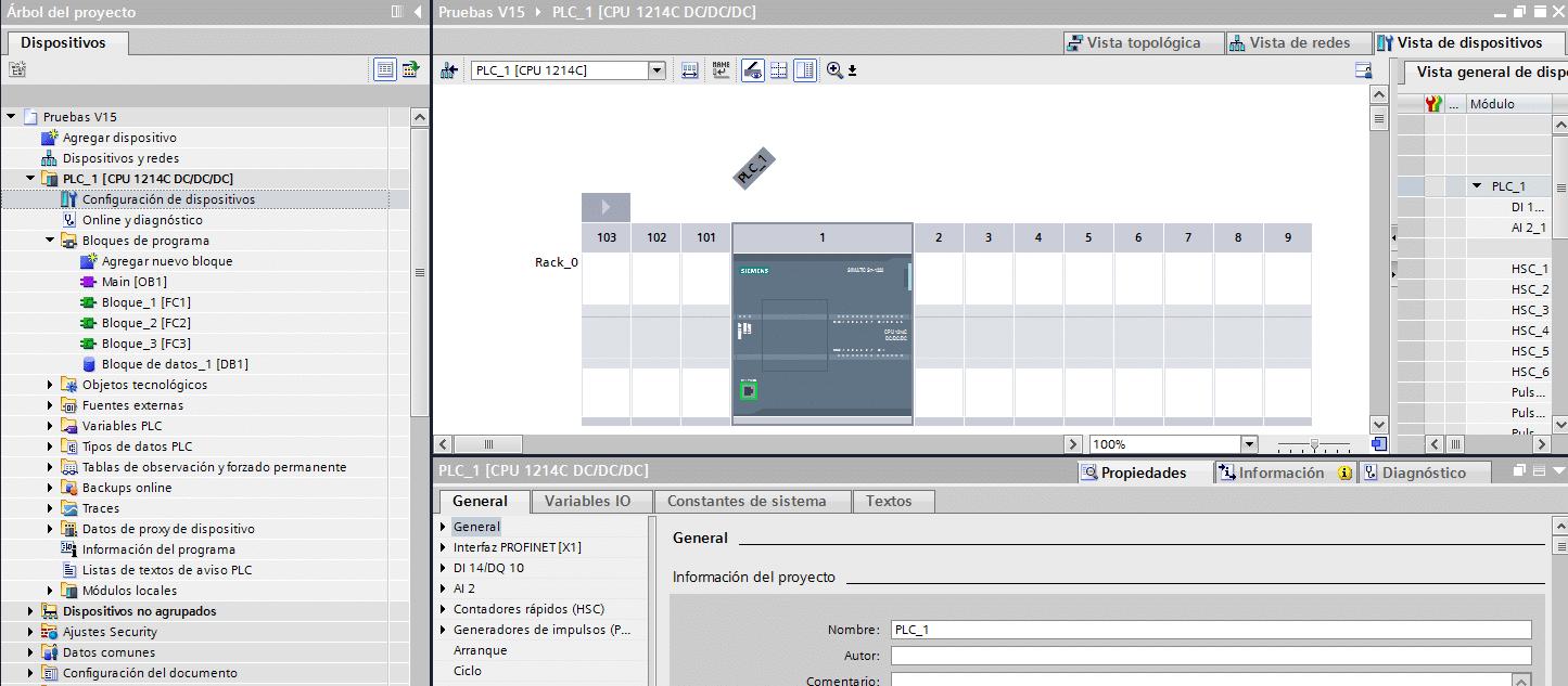 Configuración de dispositivos en el proyecto TIA Portal.