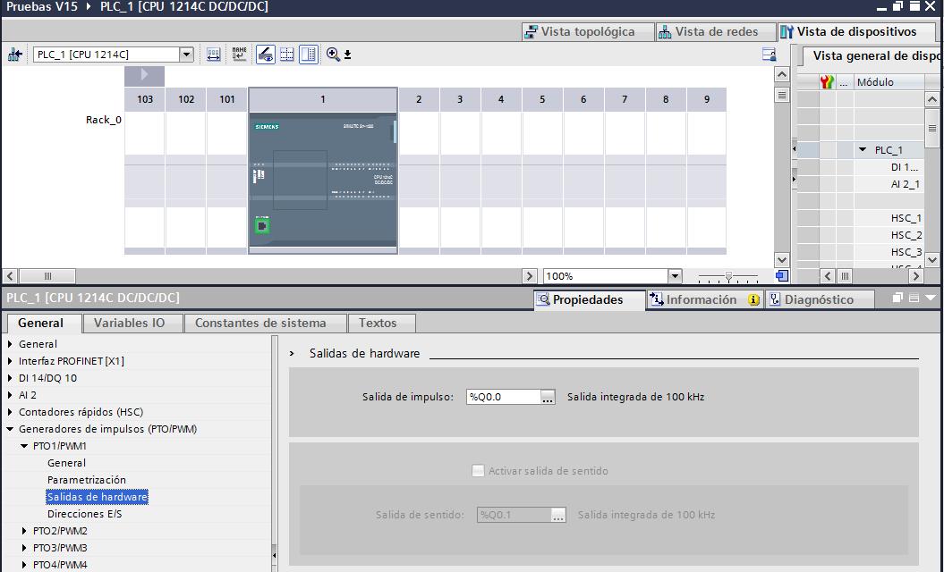 Salidas PWM TIA Portal cómo configurar las salidas