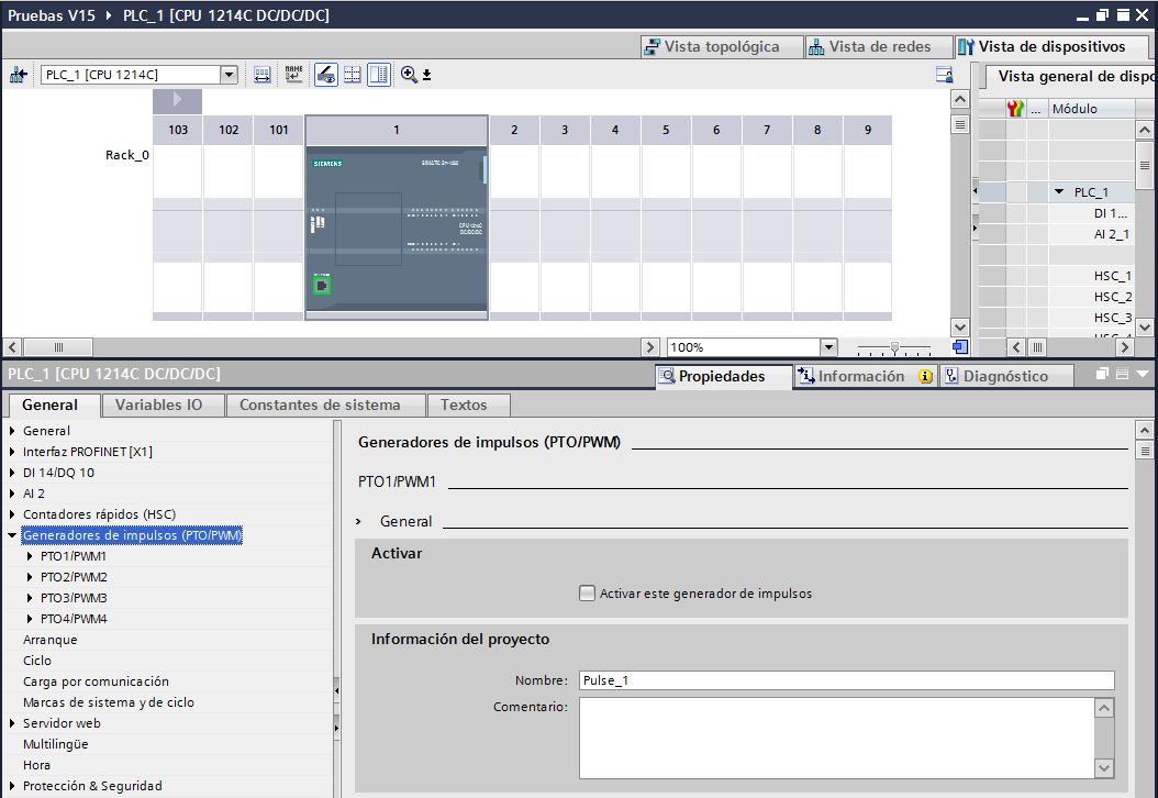 Salidas PWM TIA Portal en la configuración de dispositivos.