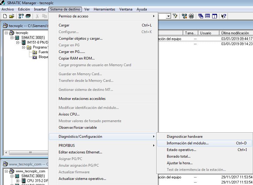 Información del módulo de la CPU Online.