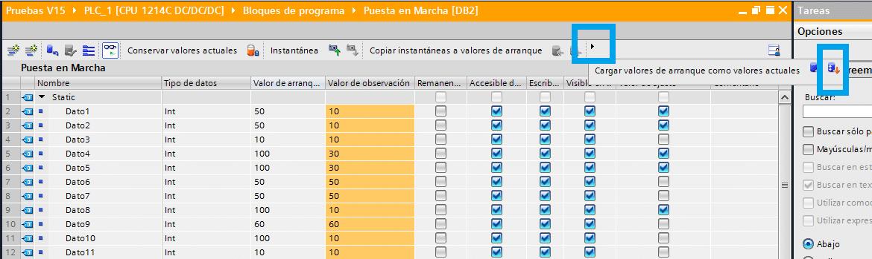 Valor de ajuste en un DB de datos TIA Portal