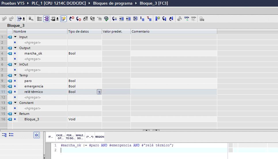 Utilización de AND en SCL mediante asignación.
